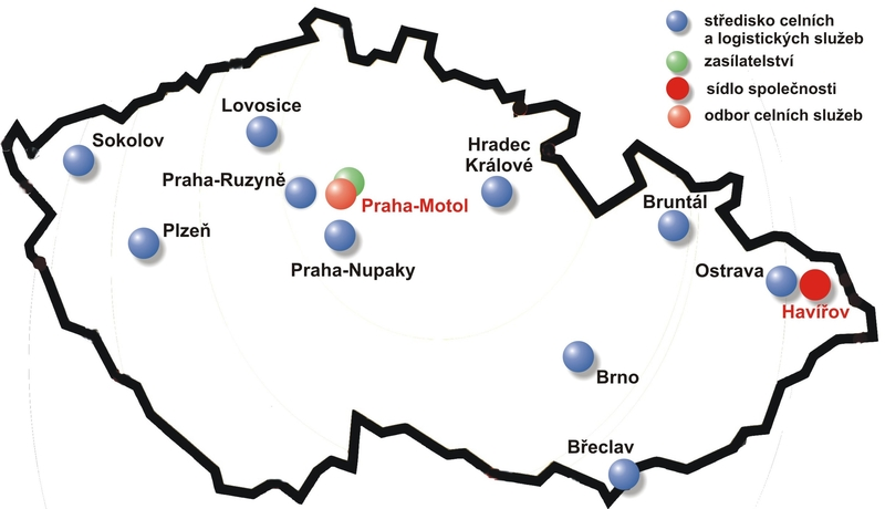 CZECH INTERNATIONAL, a.s. - mapa provozoven